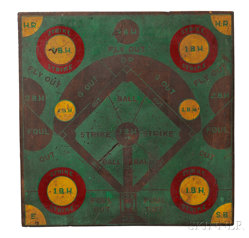 Painted Wood Baseball Diamond Dart Board