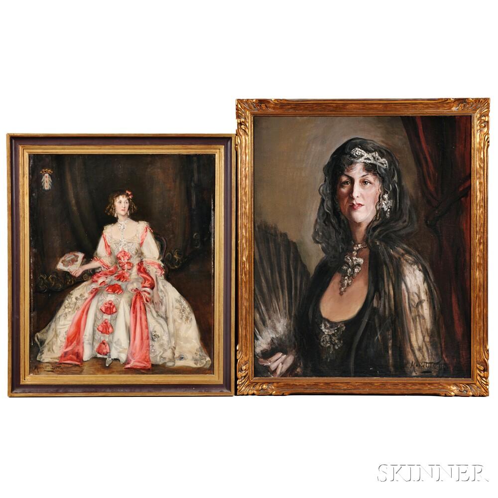 Marietta Cotton (American, 1860-1926)      Two Portraits of Bejeweled Women in Elegant Dress: Lady in Black