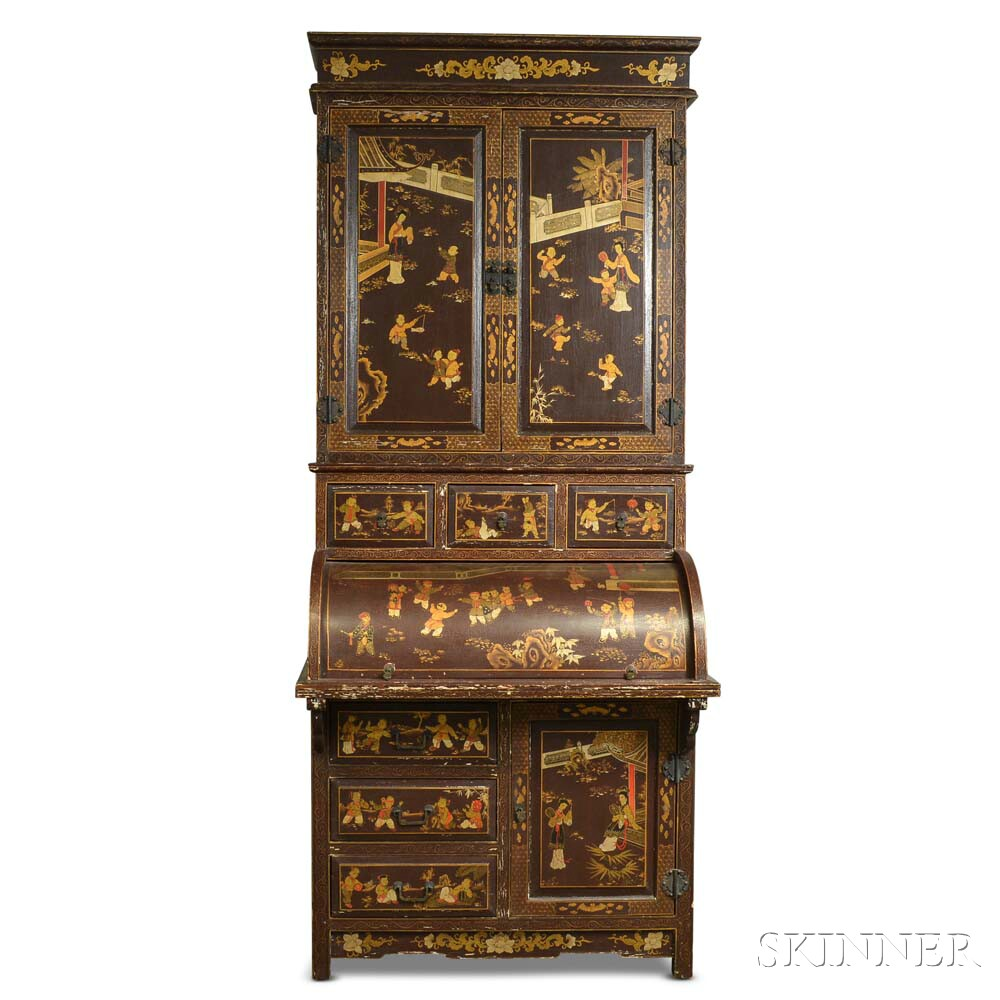 Renaissance Revival Chinoiserie-decorated Roll-top Desk/Bookcase