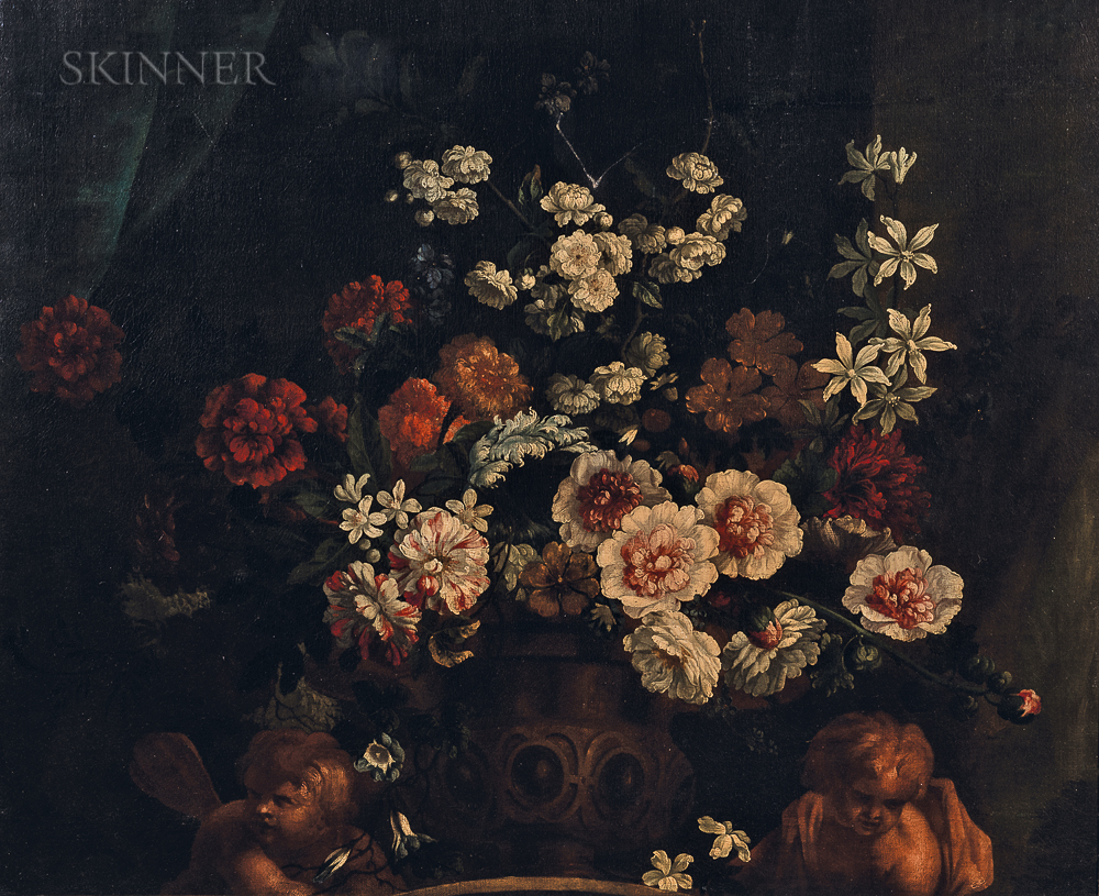 School of Jean-Baptiste Monnoyer (French, c. 1636-1699)      Elegant Flowers in an Urn Flanked by Cherubs