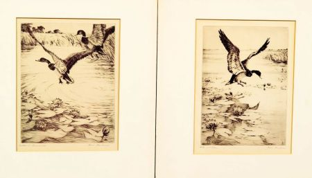 Hans Kleiber (German/American, 1887-1967)    Lot of Two Prints:  Drake and Lilies