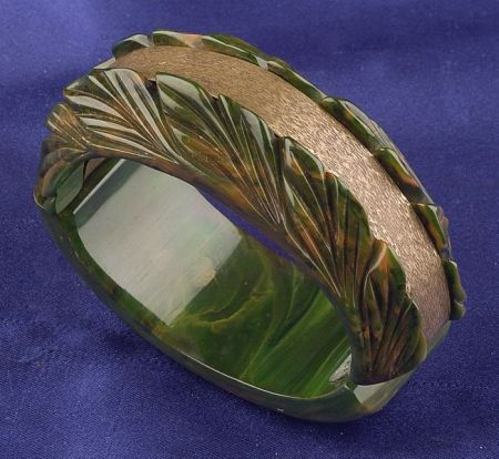 Bakelite Carved Creamed Spinach and Brass Inlaid Clamper Bracelet