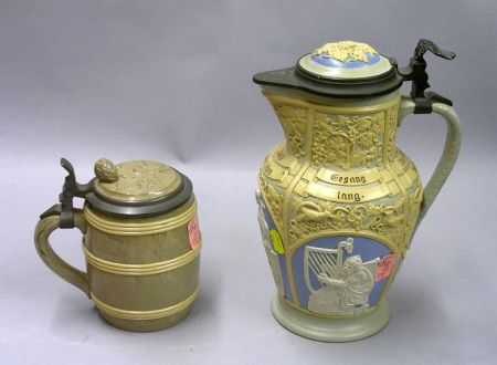 Villeroy & Boch Barrel-form Lidded 1/2 L. Stoneware Stein and a Relief Lidded Stoneware   Stein