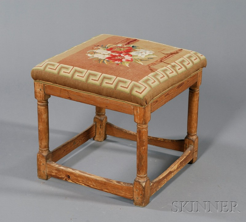 Pine Turned-leg Upholstered Stool