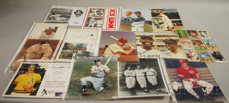Autographed Baseball Photographs, Cards and Program