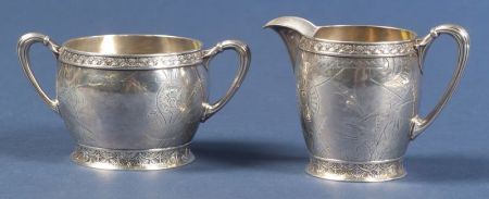 American Sterling Aesthetic Movement Creamer and Sugar