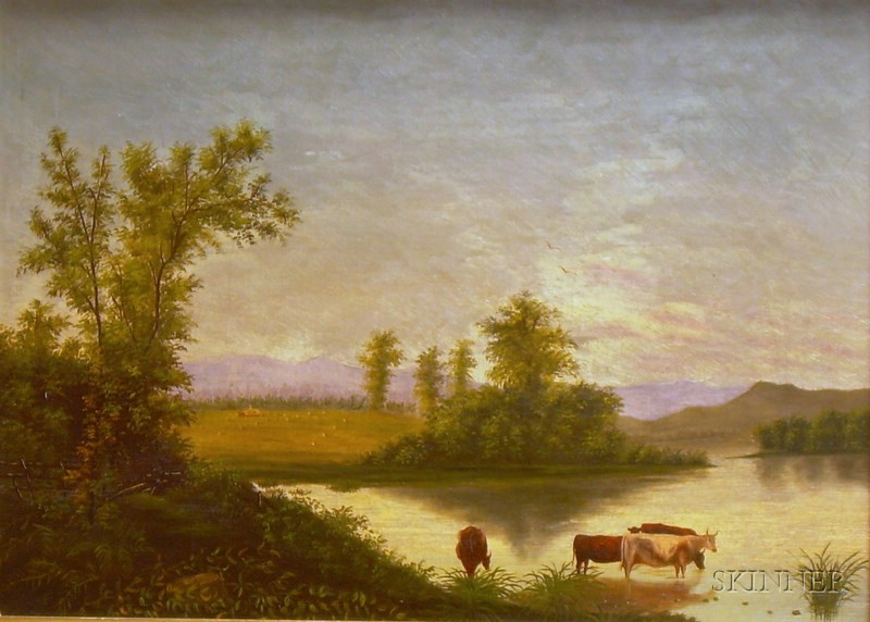 Framed American School Oil on Canvas White Mountain View with Cows