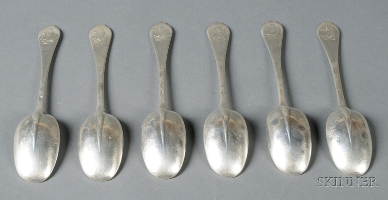 Set of Six Queen Anne Silver Dognose Tablespoons