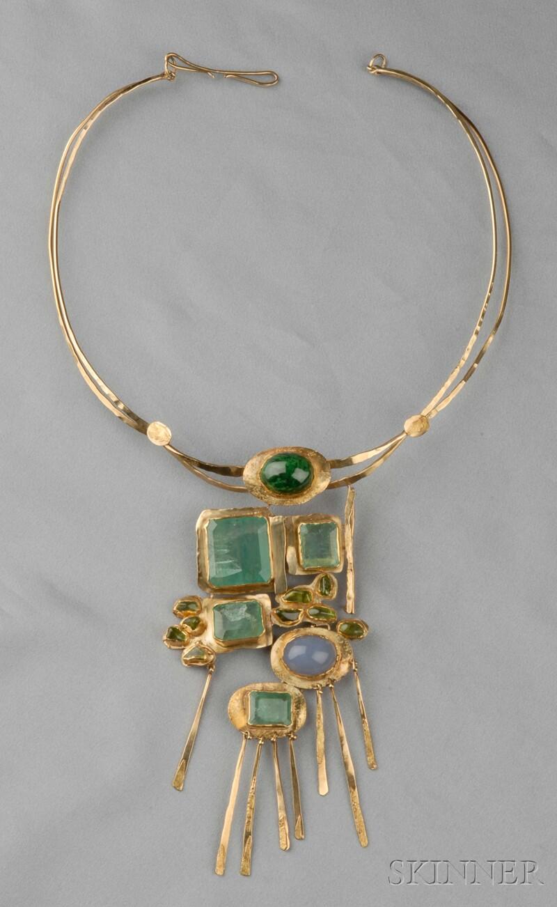 24kt and 18kt Gold Gem-set Necklace, Miye Matsukata, Janiye