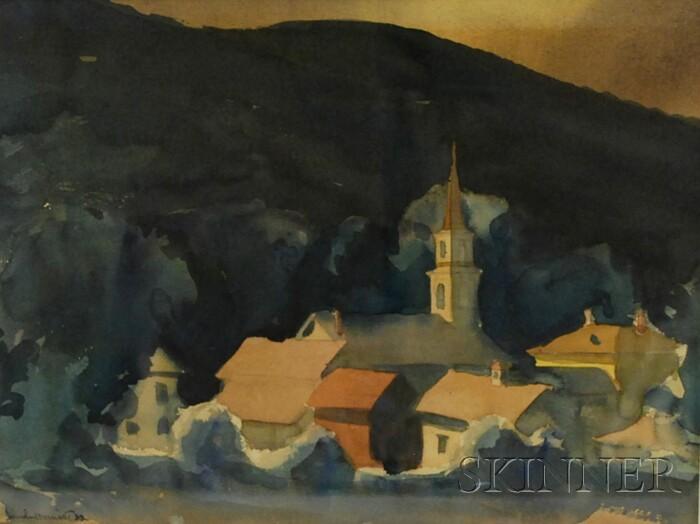 Sandor Bernath (American, 1892-1984)      New England Town with Steeple