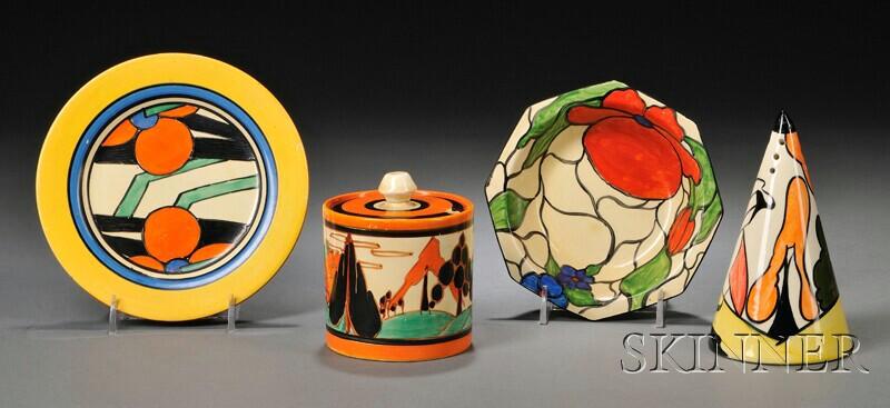 Three Clarice Cliff  Bizarre and Fantasque Ware Items and a Lorna Bailey Sugar Shaker
