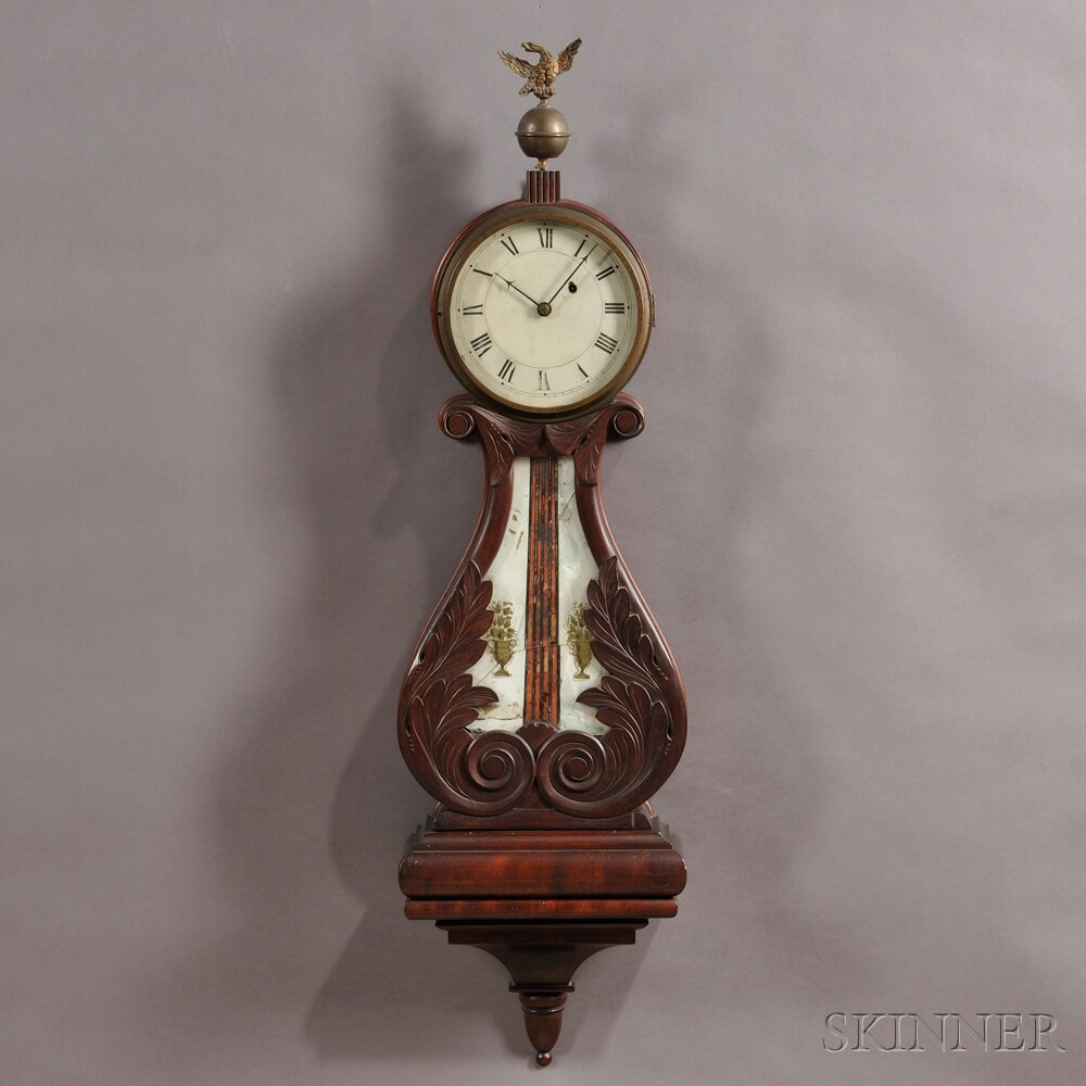 "Mahogany ""Harp Pattern"" or Lyre Clock Attributed to John Sawin"