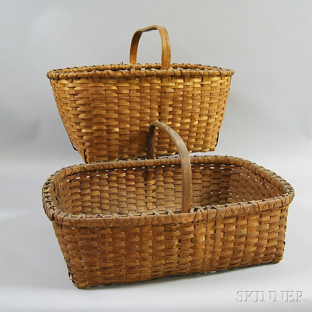 Two Rectangular Woven Split Baskets