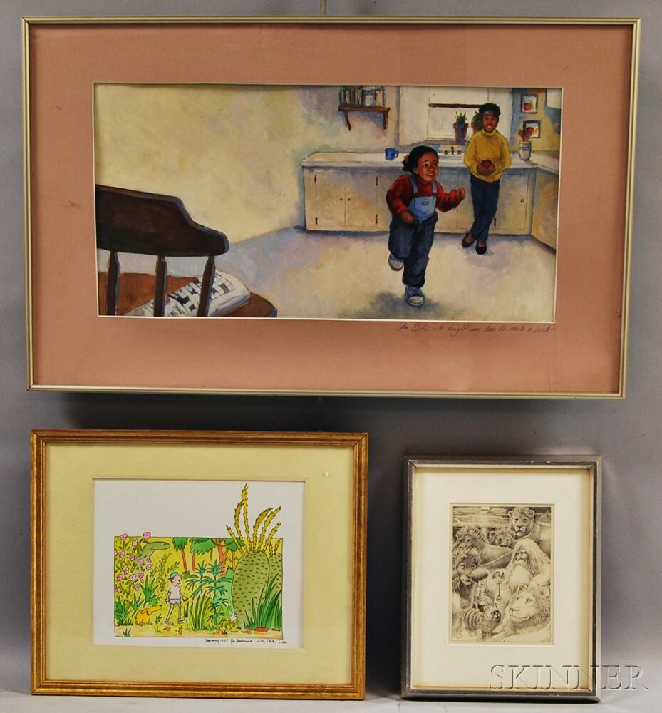 Three Framed Children's Books Illustrations