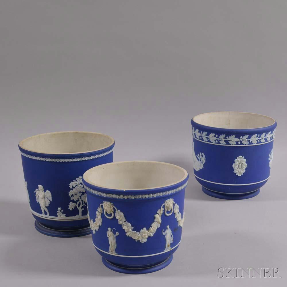 Three Wedgwood Dark Blue Jasper Jardinieres
