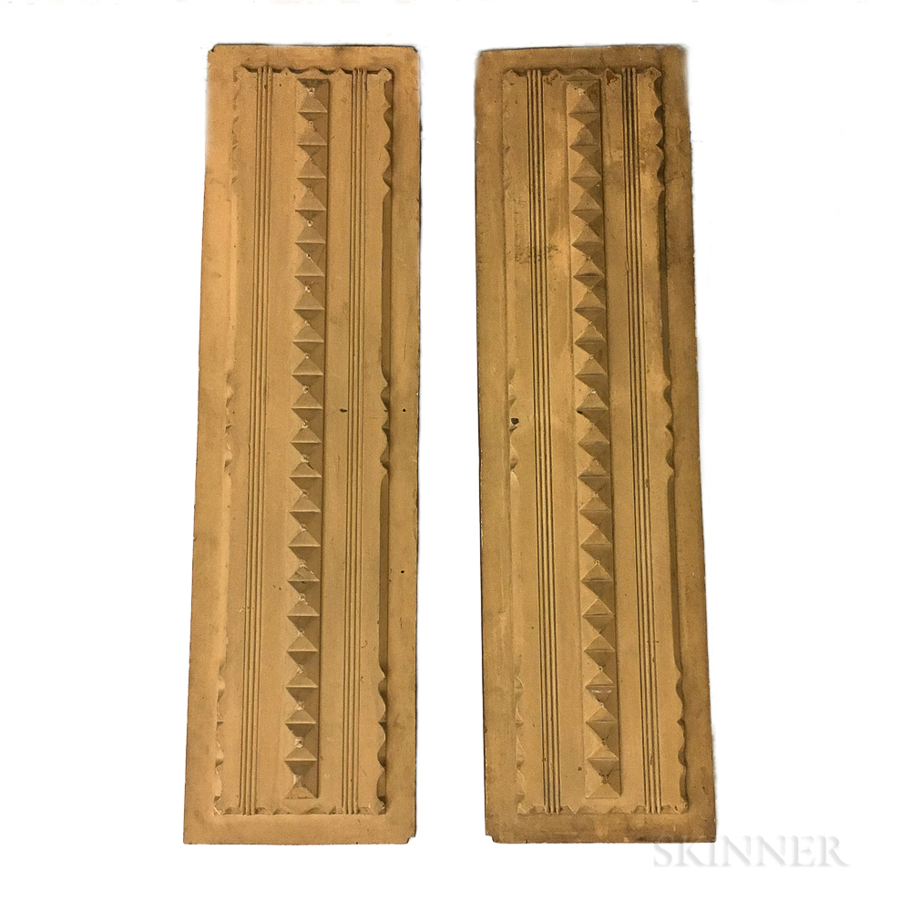 Pair of Carved and Painted Pine Architectural Panels
