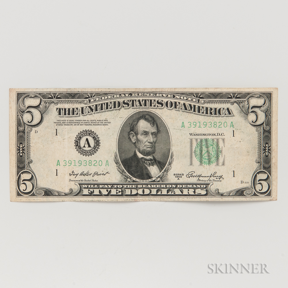1950A $5 Federal Reserve Note First Print Misalignment Error.     Estimate $50-100