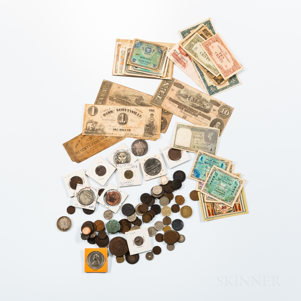 Large Group of American and World Coins and Paper Money