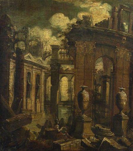 Venetian School, 18th Century    Figure Seated Among Ruins