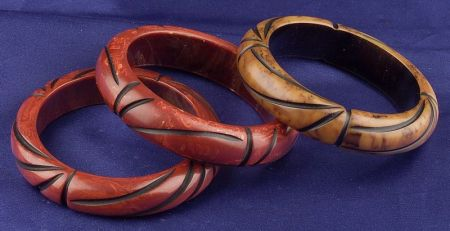 Three Bakelite Carved Marbled Overlay Cut Through Bangles
