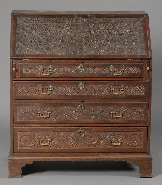 English Carved Oak Slant Lid Desk