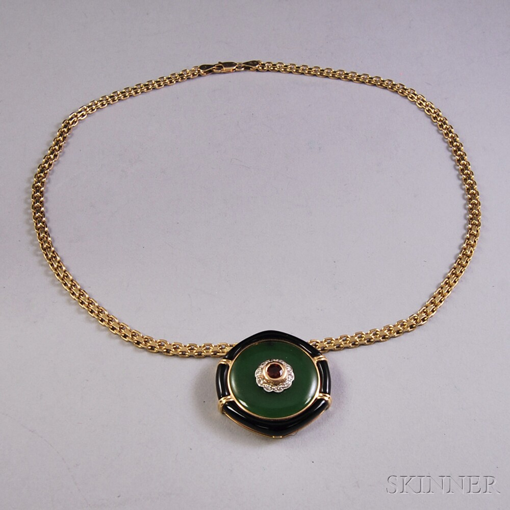 14kt Gold, Nephrite Jade, Onyx, Red Gemstone, and Diamond Pendant Necklace