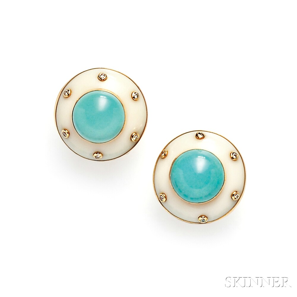 14kt Gold, White Agate, and Turquoise Earclips