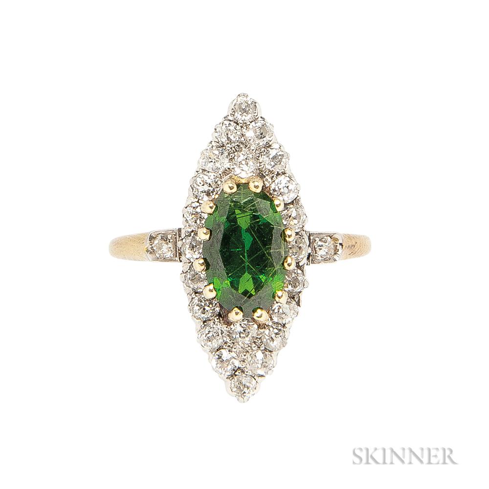 Demantoid Garnet and Diamond Ring
