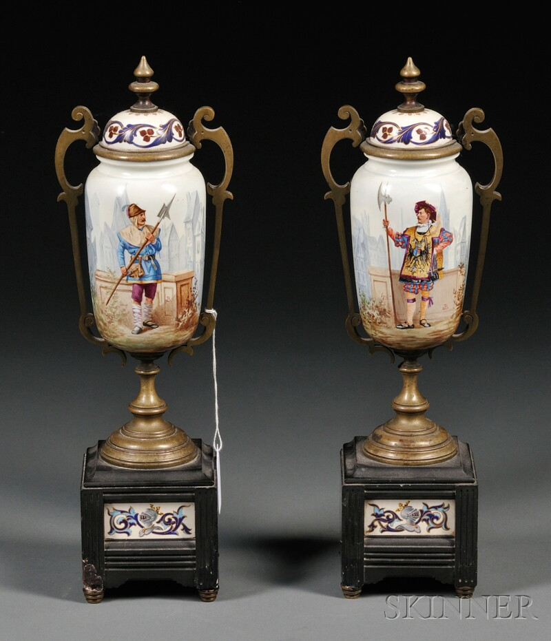 Pair of Bronze-mounted Porcelain and Marble Garnitures