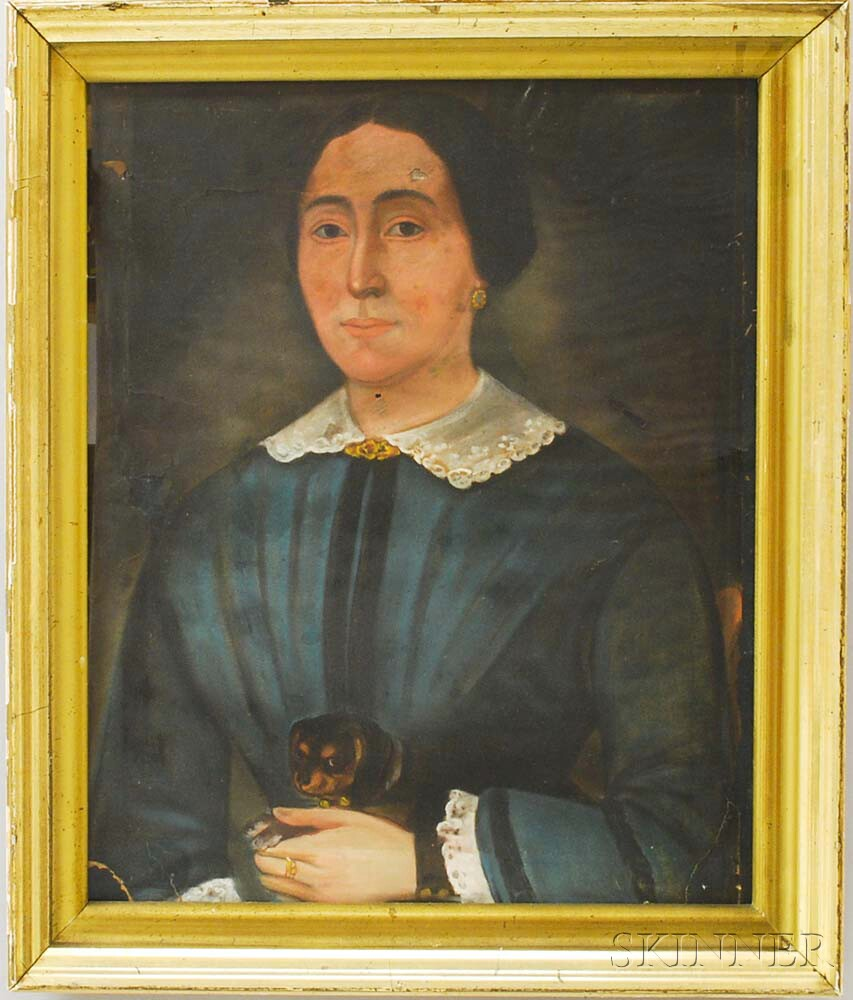 American School, 19th Century       Portrait of a Woman with a Small Dog.
