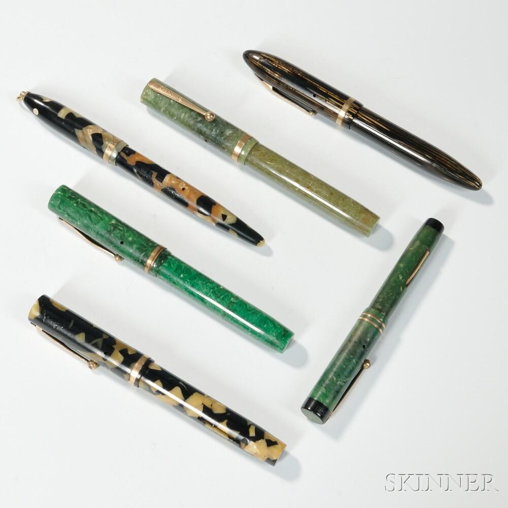 Six Sheaffer Fountain Pens