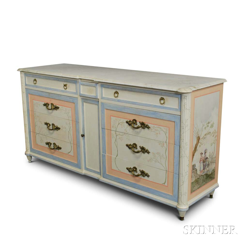 Maslow Freen Louis XVI-style Paint-decorated Marble-top Dresser