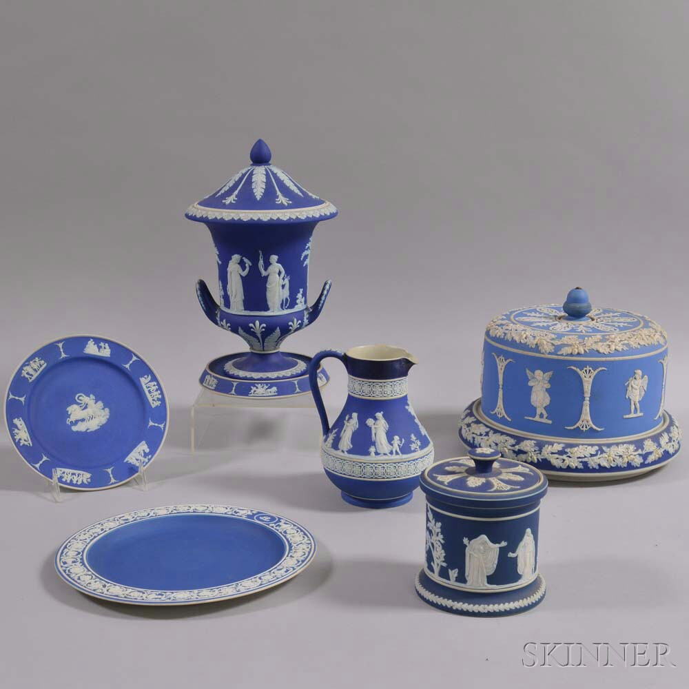 Seven Mostly Wedgwood and Adams Jasper Items