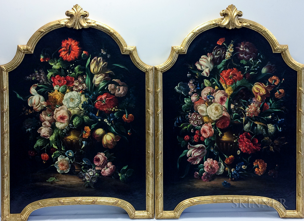 Dutch/Flemish School Style, 20th Century      Pair of Floral Still Life Paintings in Arched Decorative Frames