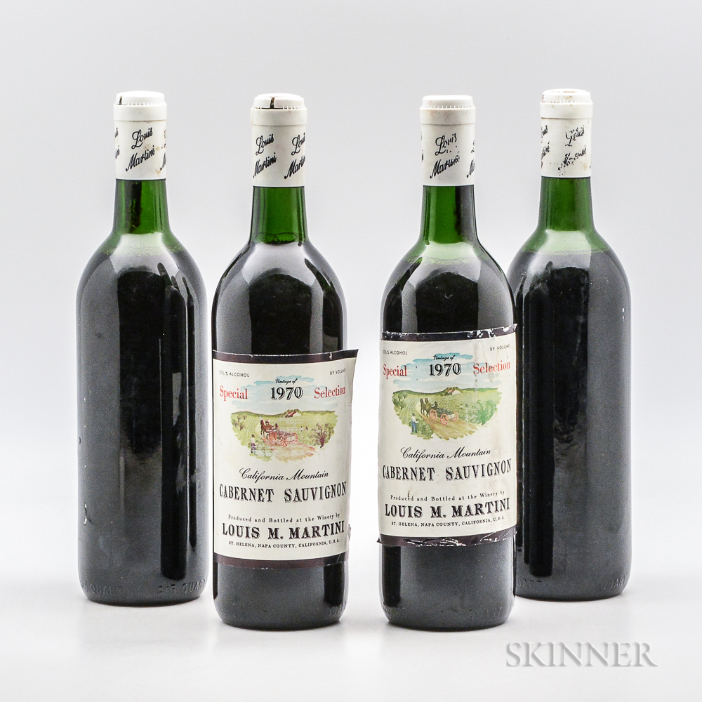 Louis M. Martini (two presumed to be) Cabernet Sauvignon Special Selection 1970, 4 bottles