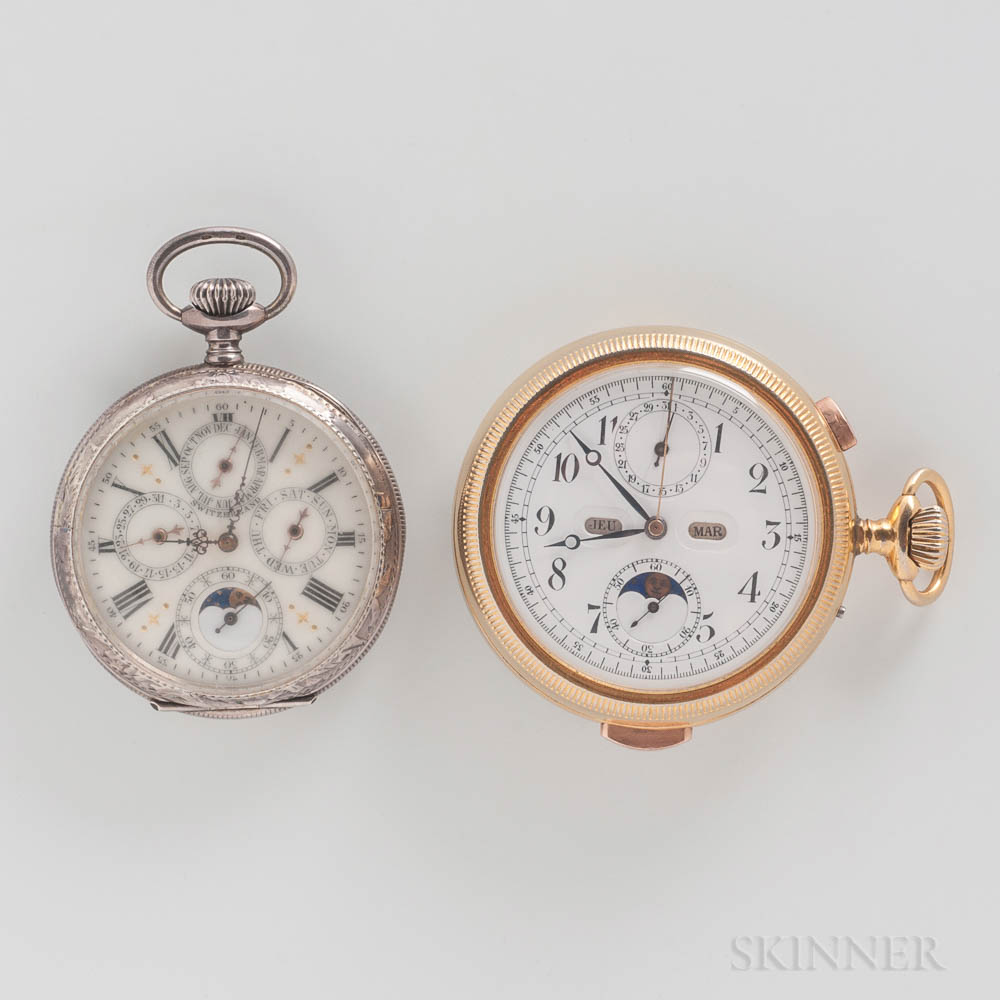 Quarter-hour Repeater Perpetual Calendar Open-face Chronograph Watch and a Sterling Silver Perpetual Calendar Watch