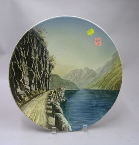 Villeroy & Boch/Mettlach Transfer and Hand-painted Scenic Decorated Ceramic   Plaque