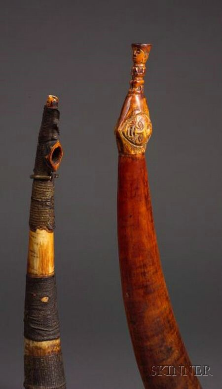 Two African Ivory Side Blown Trumpets