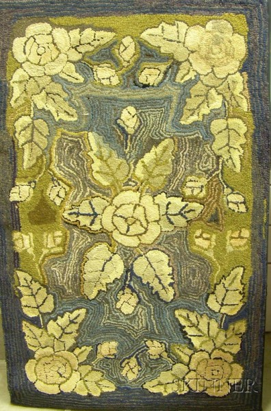 Floral and Abstract Pattern Hooked Rug