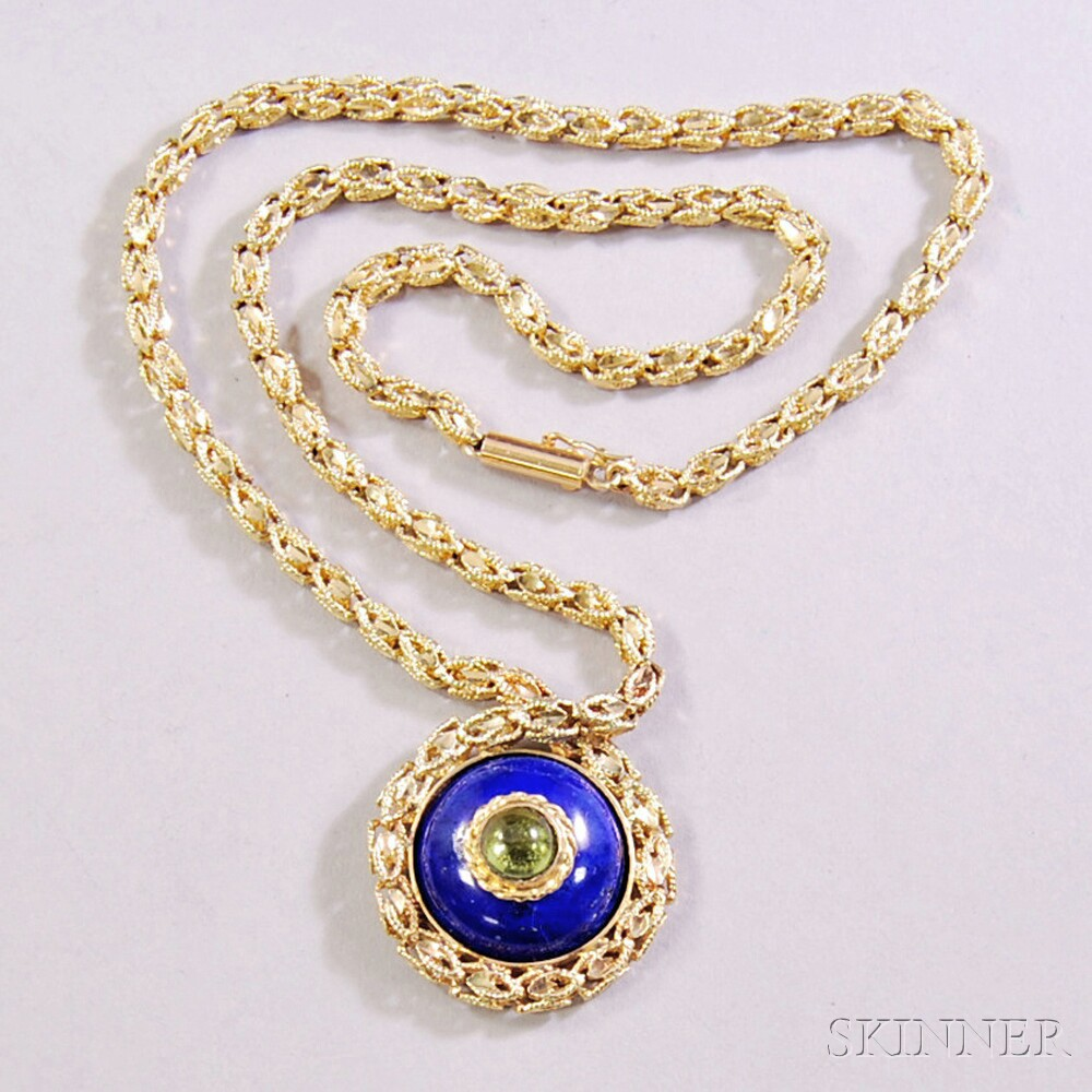 14kt Gold and Lapis Pendant Necklace