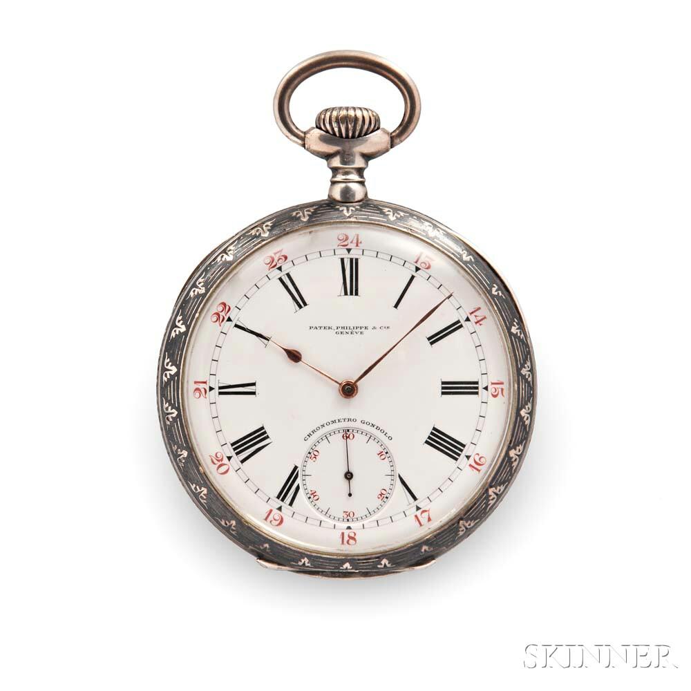 Patek Philippe Niello Silver Chronometro Gondolo Open-face Watch