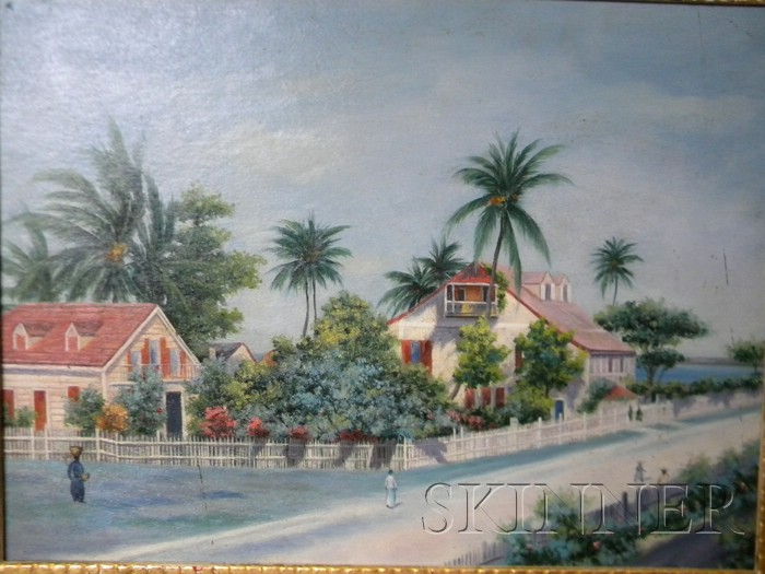 American School, 20th Century      Tropical Village Street, possibly the Bahamas.