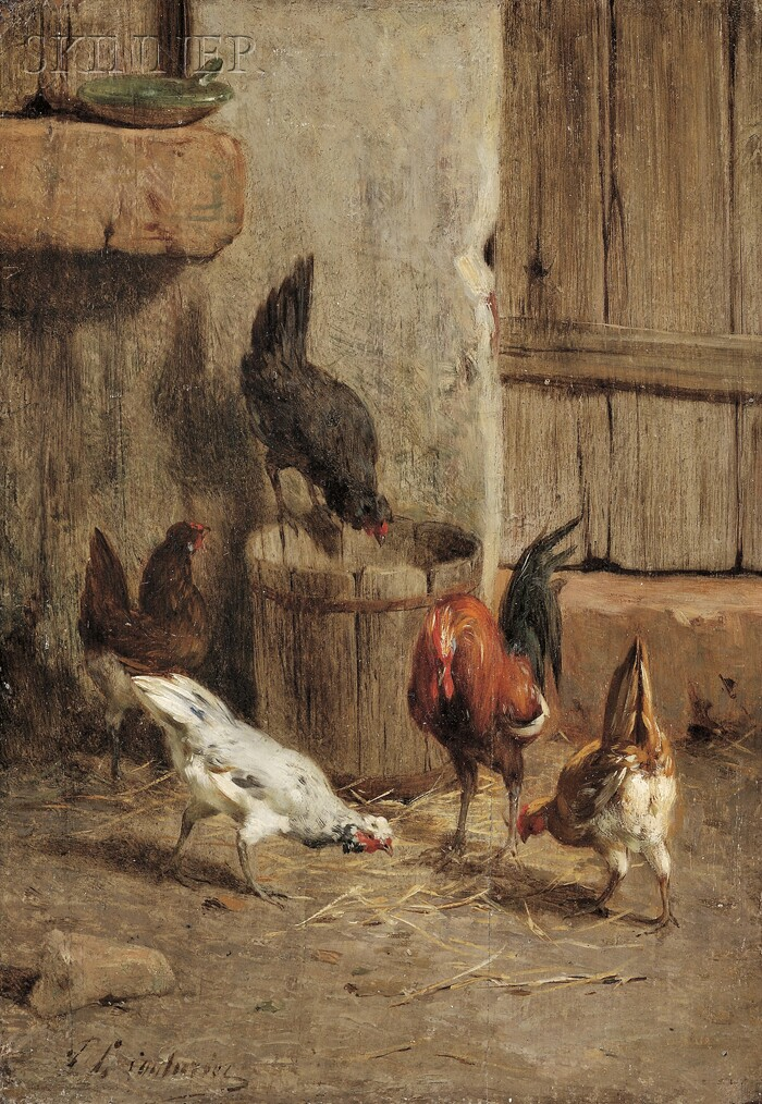 Continental School, 19th Century      Roosters by a Barn