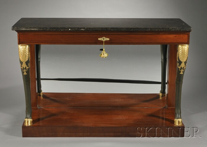 Empire Mahogany and Parcel-gilt Marble-top Console Table