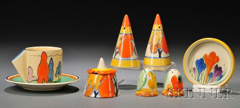 Group of Eight Clarice Cliff Bizarre and Fantasque Ware