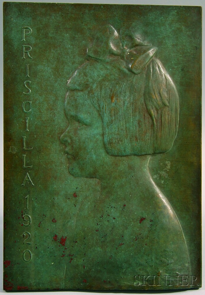 James Earle Fraser (American, 1876-1953)      Bronze Profile Portrait Plaque of Priscilla