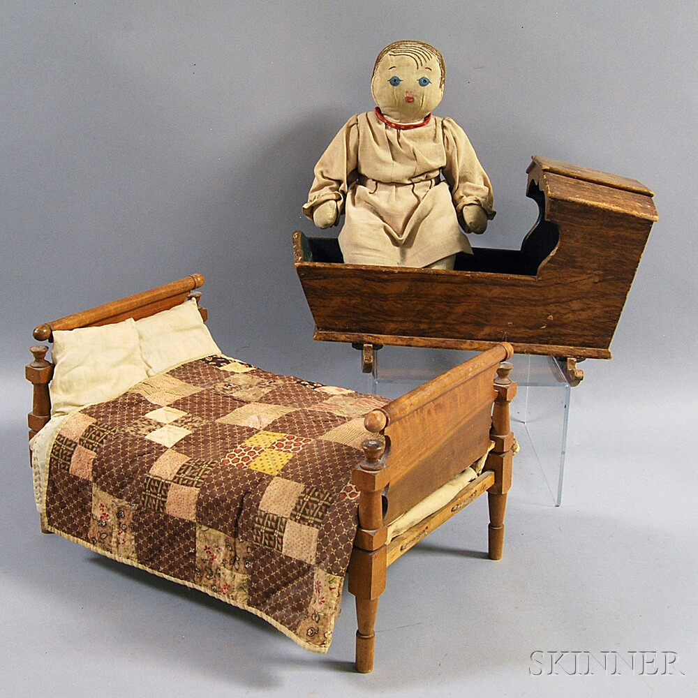 Cloth Doll with Doll Bed and Cradle