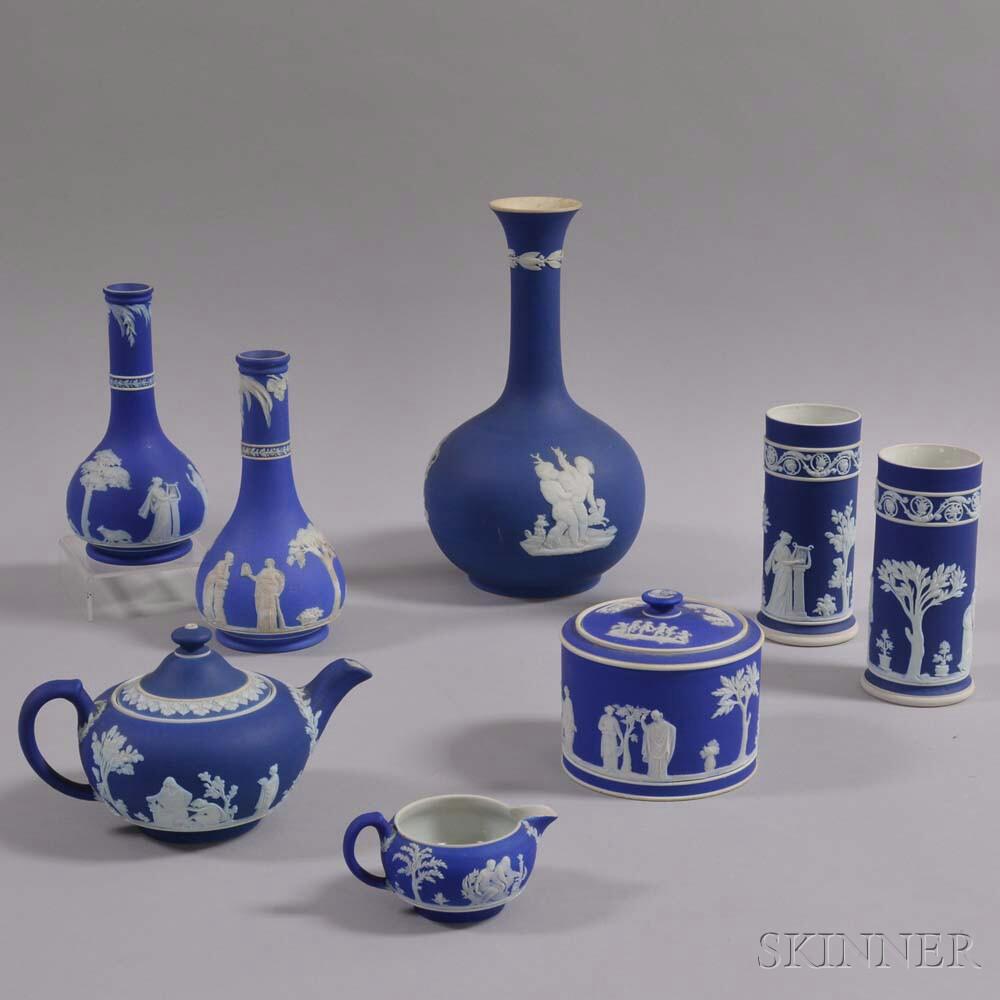 Eight Wedgwood Dark Blue Jasper Items