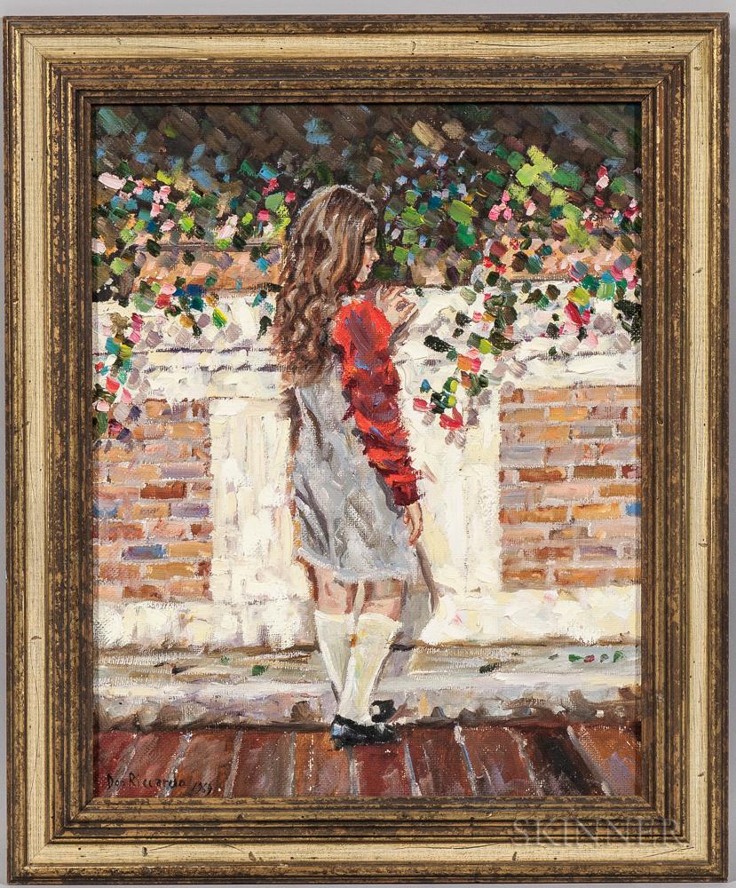 Don Riccardo Arciello (Italian, 20th Century)      Girl Standing at a Brick Wall