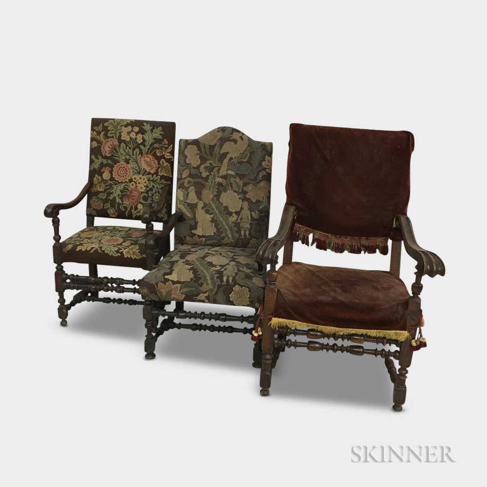 Three Baroque Carved and Upholstered Walnut Armchairs